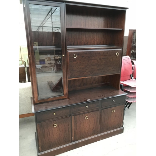 912 - A STAG MINSTREL MAHOGANY DRESSER WITH THREE LOWER DOORS AND DRAWERS AND UPPER CABINET WITH ONE SOLID...
