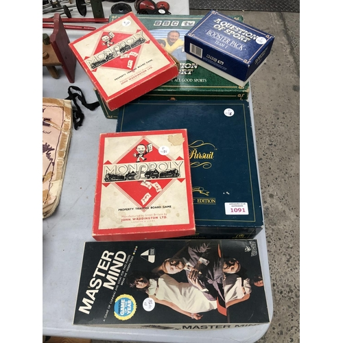 1091 - A COLLECTION OF VINTAGE GAMES TO INCLUDE 1950'S MONOPOLY ETC (QTY)...