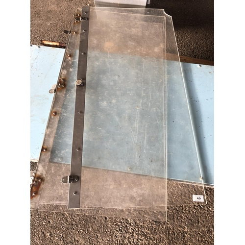 49 - 3 X POLYCARBONATE HINGED LIDS (SS HINGES)...
