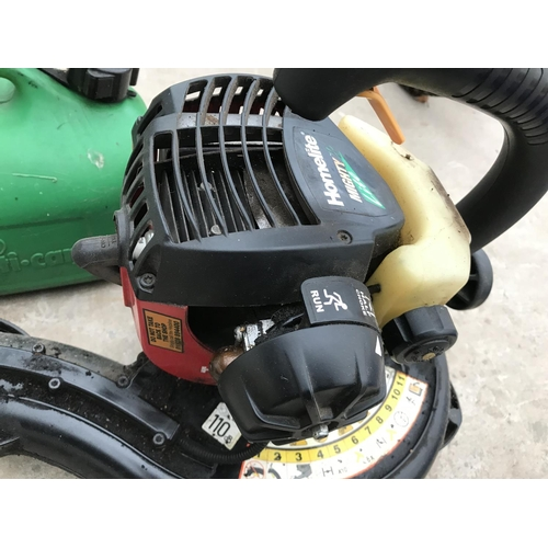 1 - A PETROL HOMELITE LEAF BLOWER MIGHTY LITE 320KM/H AND A PETROL CAN...