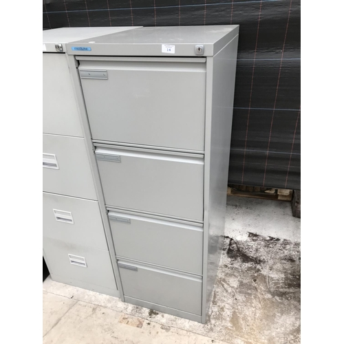14 - A FOUR DRAWER METAL FILING CABINET...