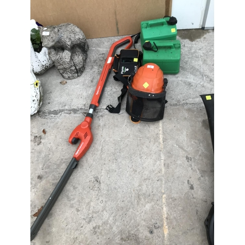2 - A FLYMO SABRE CUT HEDGE TRIMMER (CHARGER IN OFFICE SAFE), A SAFETY HELMET AND TWO PLASTIC PETROL CAN...