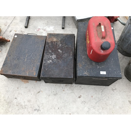 21 - THREE VINTAGE METAL TOOL BOXES AND A RED METAL PETROL CAN...