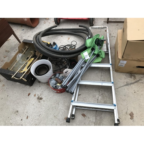 24 - A FOUR RUNG ALLOY STEP LADDER, BATHROOM FITTINGS, HIPPO PUMP, BATTERY CHARGER, PIPE ETC...