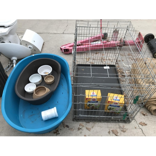 28 - A METAL DOG/PET CAGE 91CM X 71CM X 63CM WITH TWO PLASTIC DOG BASKETS, BOWLS AND DENTASTIX...