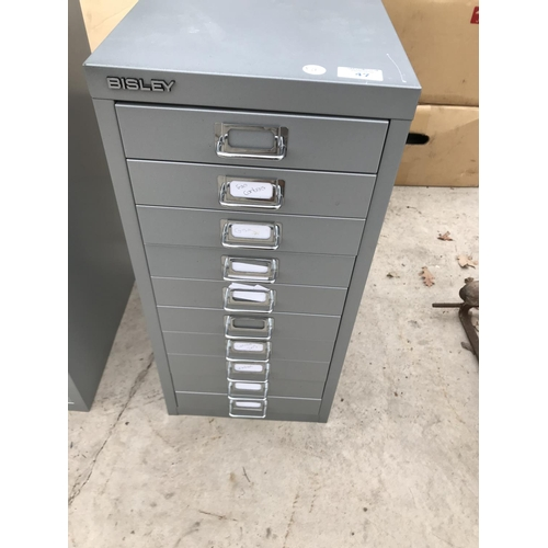47 - A BISLEY TEN DRAWER A4 FILING CABINET...