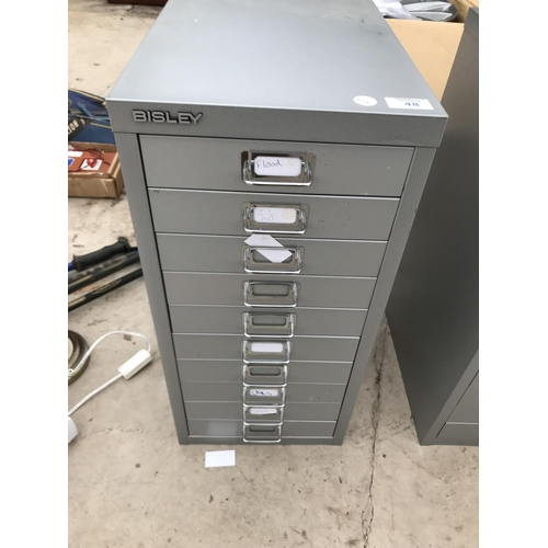 48 - A BISLEY TEN DRAWER A4 FILING CABINET...