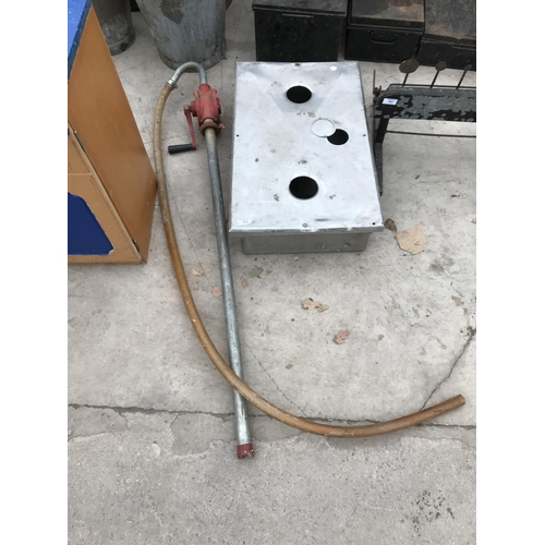 51 - A BARREL PUMP WITH HOSE AND A STAINLESS STEEL METAL BOX...