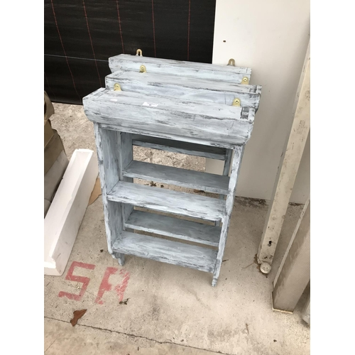 6 - THREE SHABBY CHIC WOODEN SHELVING UNITS...