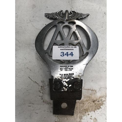 344 - A COLLECTABLE VINTAGE 'A.A' CAR / MOTORING BADGE...