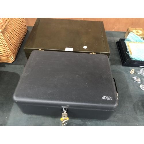 395 - A LEATHER STYLE BRIEFCASE TOGETHER WITH FURTHER LOCKABLE MONEY TIN (2)...