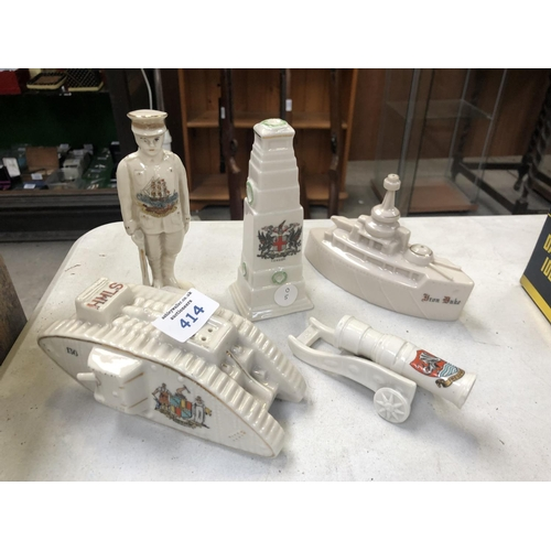 414 - FIVE PIECES OF CRESTED WARE CHINA TO INCLUDE TANK, CENOTAPH ETC (5) (SOME A/F)...