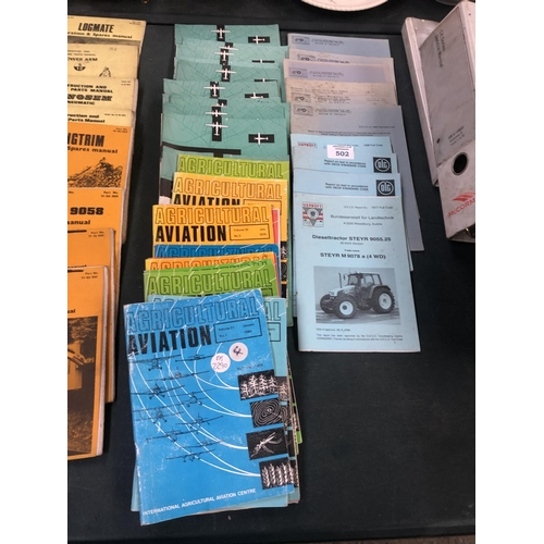 502 - A GROUP OF VINTAGE TRACTOR / IMPLEMENT BOOKLETS & MANUALS TO INCLUDE 'AGRICULTURAL AVIATION' ETC (QT...