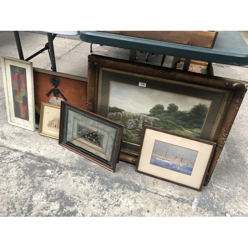 508 - A MIXED GROUP OF PICTURES TO INCLUDE A GILT FRAMED WATERCOLOUR LANDSCAPE ETC (QTY)...