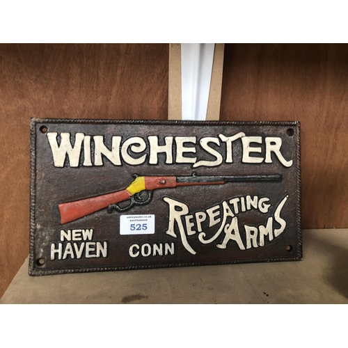 525 - A CAST IRON 'WINCHESTER' REPEATER SIGN...
