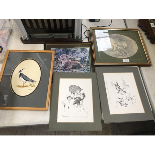 542 - FIVE ASSORTED FRAMED PICTURES TO INCLUDE SIGNED COMEDIC PRINTS ETC...