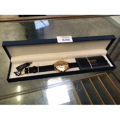 636 - A GENTS BOXED 'HENRY OF LONDON' WATCH, AS NEW...