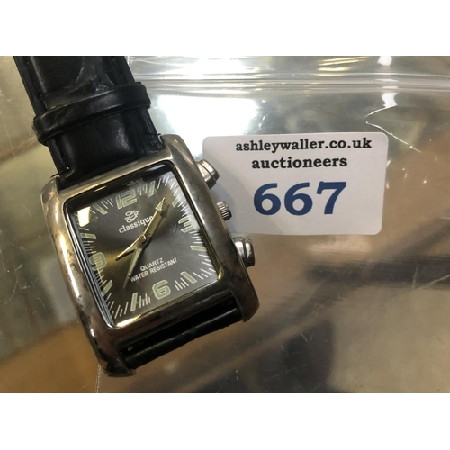 667 - A GENTS 'CLASSIQUE' WATCH, WORKING...
