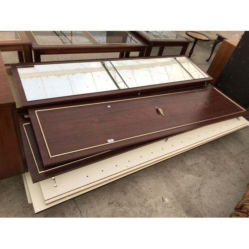 878 - A MAHOGANY EFFECT WARDROBE (REQUIRES ASSEMBLY)...