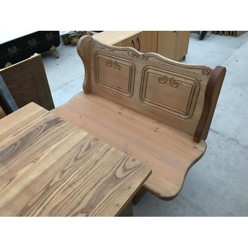 984 - A PINE CORNER KITCHEN BENCH, MATCHING TWO SEATER BENCH AND DINING TABLE WITH SINGLE DRAWER...