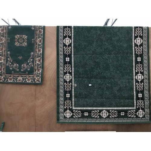 998 - TWO PATTERNED RUGS 106 CM X 221 CM AND 79 CM X 148 CM...