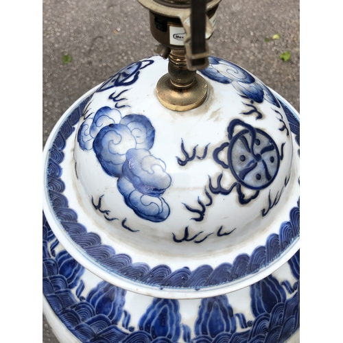 A Large 19th Century Chinese Blue And White Ceramic Lamp Base On