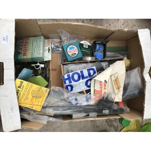 12 - A BOX CONTAINING VARIOUS FISHING TACKLE - FLY LINE, WEIGHTS, LINE ETC...