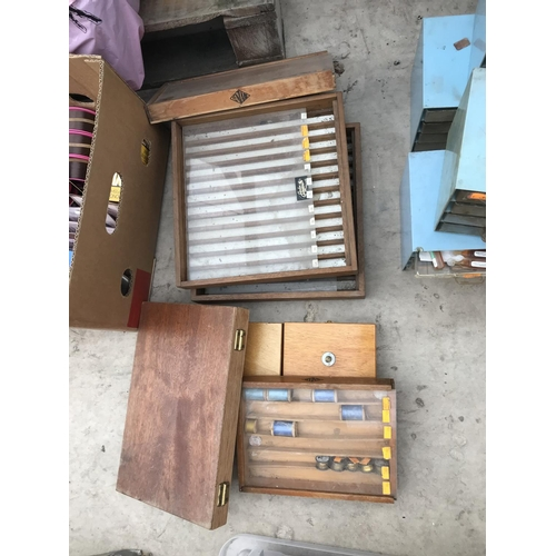 22 - SEVEN VARIOUS WOODEN TACKLE BOXES ONE WITH TYING CONTENTS...