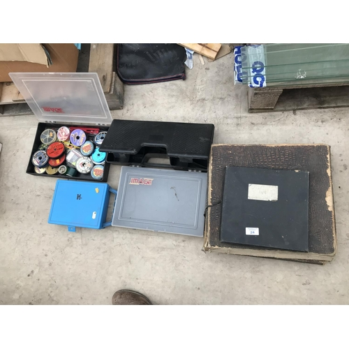 24 - EIGHT VARIOUS TACKLE BOXES CONTAINING VARIOUS REEL SPARES AND LINE...