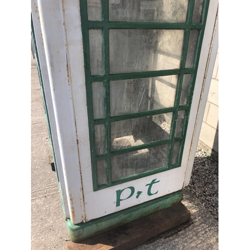 1 - AN ORIGINAL CAST PHONE BOX MADE BY CARRON CO, STIRLINGSHIRE, SCOTLAND, PAINTED IN IRISH COLOURS WITH...