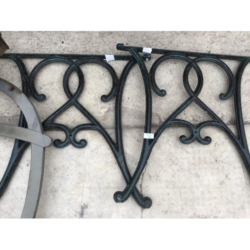 13 - A PAIR OF CAST IRON BENCH ENDS AND A PAIR OF MODERN BENCH ENDS...