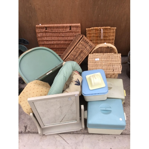 18 - A LARGE COLLECTION OF WICKER BASKETS TO INCLUDE A LLOYD LOOM LUSTY, MIRROR, RETRO STORAGE BOXES ETC...