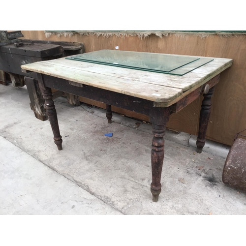 26 - A VINTAGE PINE FARMHOUSE STYLE TABLE WITH DRAWER...