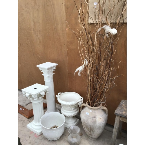 32 - A COLLECTION OF JARDINERES, PLANTERS, DECORATIVE TWIGS ETC...