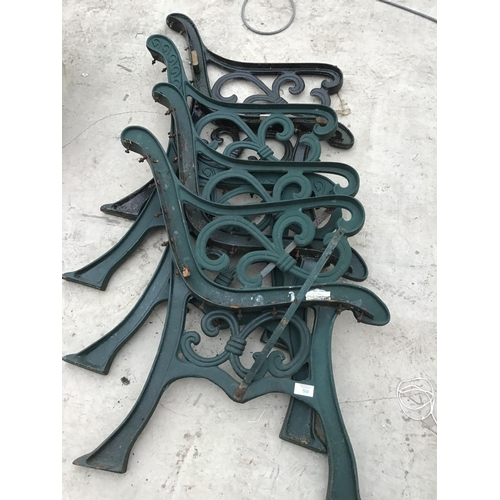 50 - TWO PAIRS OF CAST IRON BENCH ENDS...