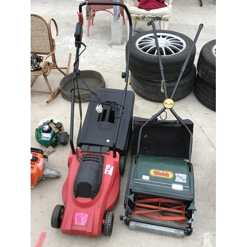 56 - A WEBB PUSH MOWER WITH GRASS BOX AND A POWER HOUSE ELECTRIC MOWER BOTH IN WORKING ORDER...