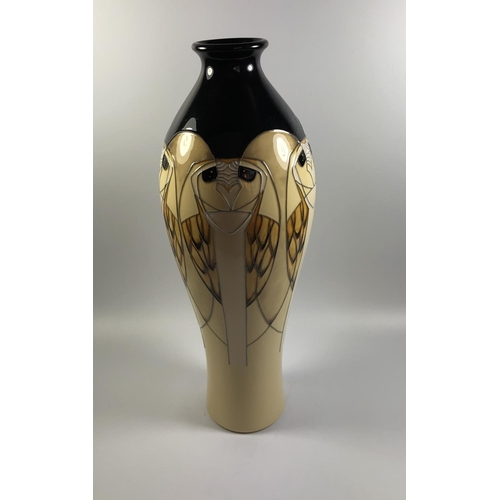 501 - A MOORCROFT POTTERY 'TENGU' PATTERN OWL VASE, HEIGHT 31CM...