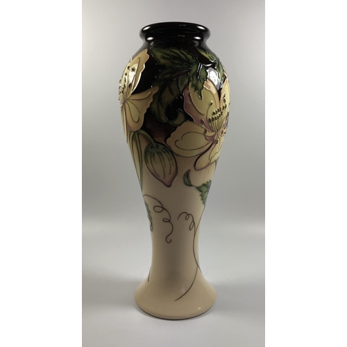 502 - A LIMITED EDITION MOORCROFT POTTERY 'LIBERTY ROSE' PATTERN VASE, NUMBER 55/75, HEIGHT 28CM...