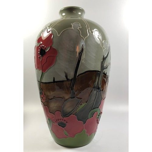 516 - A MOORCROFT POTTERY 'LEST WE FORGOT' PATTERN NUMBERED EDITION VASE (69), HEIGHT 24CM...