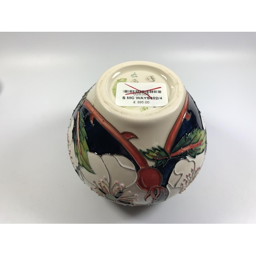 538 - A NUMBERED EDITION (13) MOORCROFT POTTERY 'WAYSIDE RAMBLER' PATTERN VASE, HEIGHT 11CM...