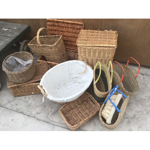 21 - A LARGE COLLECTION OF VARIOUS WICKER BASKETS...