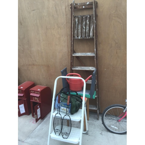 34 - A VINTAGE SIX RUNG WOODEN STEP LADDER, A STOOL, A METAL TWO RUNG STEP LADDER, A PATIO SET COVER ETC...