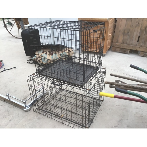 39 - TWO PET CAGES 61CM X 46CM X 54CM WITH TRAY AND 75CM X 60CM X 53CM...