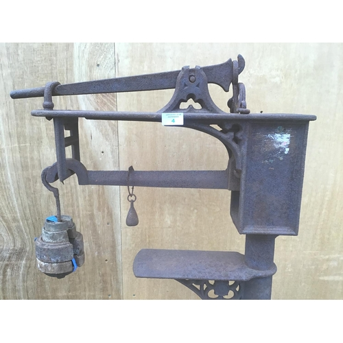 4 - A SET OF VINTAGE INDUSTRIAL SCALES WITH WEIGHTS...