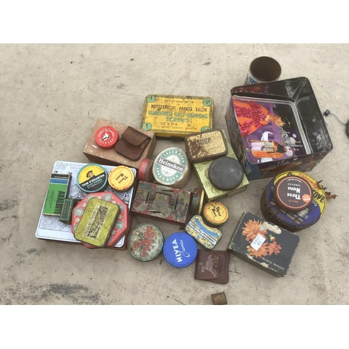 41 - A COLLECTION OF VARIOUS VINTAGE TINS ETC...