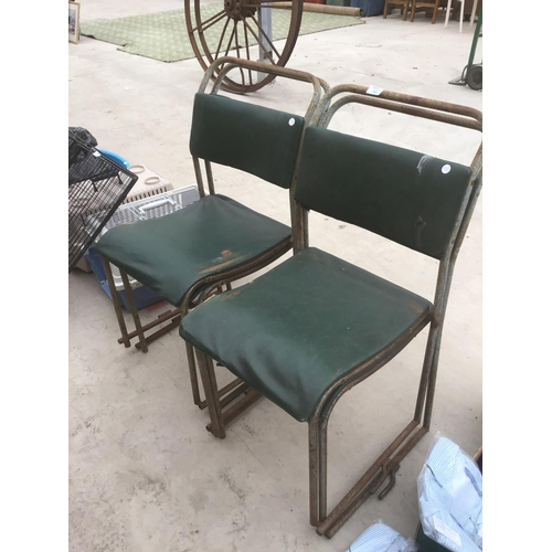 44 - FOUR VINTAGE STACKING CHAIRS...