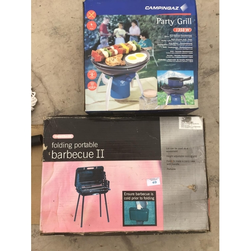 49 - A CAMPING GAZ PARTY GRILL, FOLDING PORTABLE BBQ AND TOOLS...