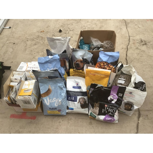 59 - A LARGE COLLECTION OF DOG FOOD TO INCLUDE WAGG, PEDIGREE, APPLAWS ETC...