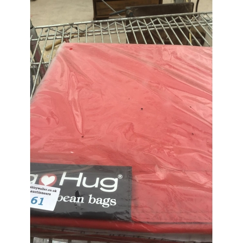 61 - A BIG HUG 'LONDON' BEAN BAG IN RED , 140CM X 18OCM, HEAVY DUTY POLYESTER, STAIN AND WATER RESISTANT ...
