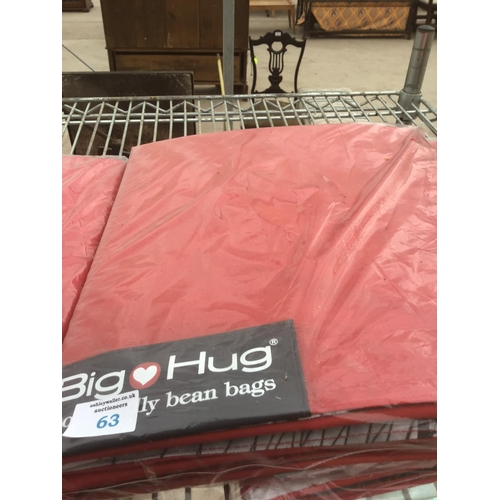 63 - A BIG HUG 'LONDON' BEAN BAG IN RED , 140CM X 18OCM, HEAVY DUTY POLYESTER, STAIN AND WATER RESISTANT ...
